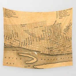 Vintage Map of Mobile Alabama (1840) Wall Tapestry