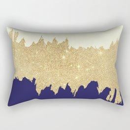 Navy blue ivory faux gold glitter brushstrokes Rectangular Pillow