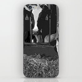 Black & White Cattle Feeding Pencil Drawing Photo iPhone Skin