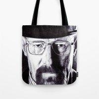heisenberg Tote Bags featuring Heisenberg  by DeMoose_Art