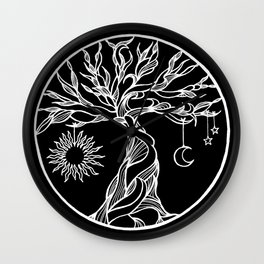 black and white tree of life with hanging sun, moon and stars II Wall Clock