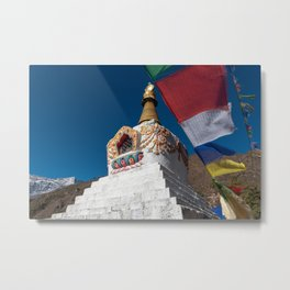 Enlightenment Stupa and prayer flags Metal Print