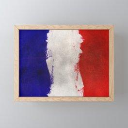 Grunge painting france flag Framed Mini Art Print