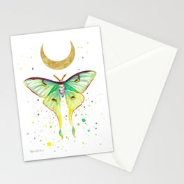 Luna Moth Watercolor Pattern Stationery Cards