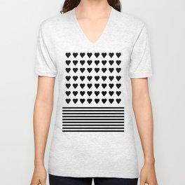 Heart Stripes Black on White Unisex V-Neck