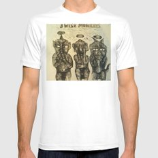 3 Wise Monkeys  SMALL White Mens Fitted Tee