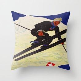 Vintage Adelboden Switzerland - Ski Jump Throw Pillow