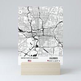 Columbus, USA Road Map Art - Earth Tones Mini Art Print