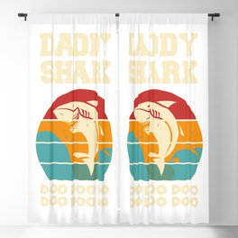 Daddy Shark Doo Doo Doo Vintage Fathers Day Blackout Curtain