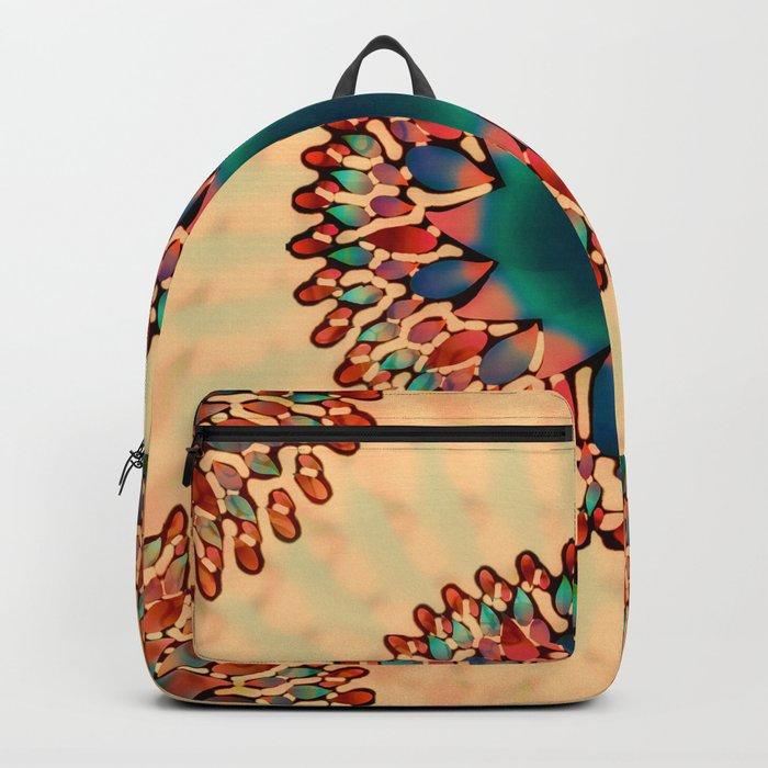 Earthy Starburst Mandala Backpack
