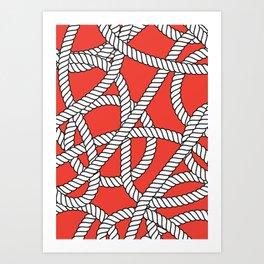 Red Rope Pattern Art Print