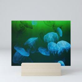 Moon Jellyfish - Blue and Green Mini Art Print