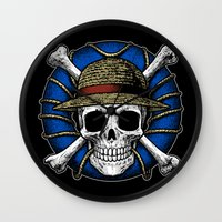 luffy Wall Clocks featuring Going Merry by Fuacka