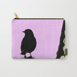Spring mood - singing bird - black bird on a pink background Carry-All Pouch