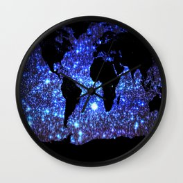 world Map Blue Swirl Galaxy Sparkle Wall Clock