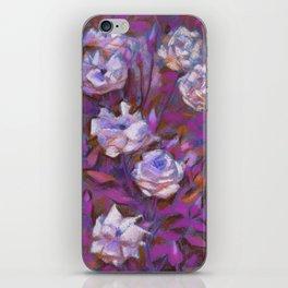 White roses, purple leaves iPhone Skin