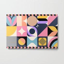 Colorful Mid-Century Block Pattern Metal Print