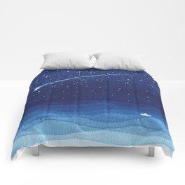 Falling star, shooting star, sailboat ocean waves blue sea Comforters