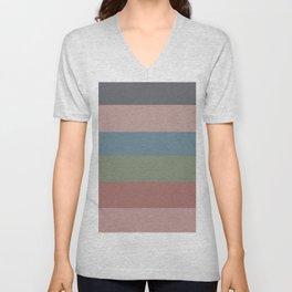 Modern geometric terracotta pastel color block  Unisex V-Neck