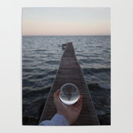 Pier Reflection in Glass Ball Poster
