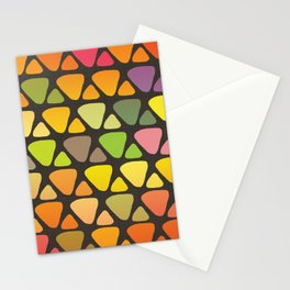 Bright colorful abstract triangles retro pattern Stationery Cards