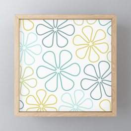 Abstract Flower Outlines Teals Yellow Lime White Framed Mini Art Print