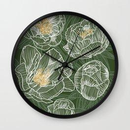 Peonies #1 White Line Art on Green Wall Clock