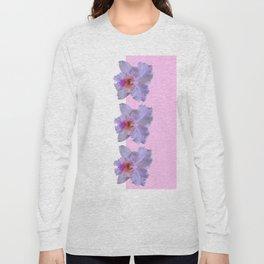 TROPICAL PURPLE CATTLEYA ORCHIDS WHITE-PINK ART Long Sleeve T-shirt