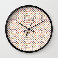quilt Wall Clocks featuring Quilt by Anh-Valérie