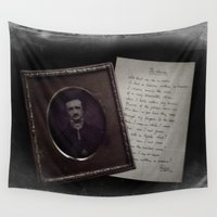 edgar allan poe Wall Tapestries featuring Edgar Allan Poe by Apples and Spindles
