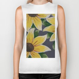 Handmade Sunflower Painting Biker Tank