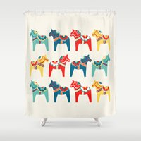 swedish Shower Curtains featuring Swedish Horses by Running River Design