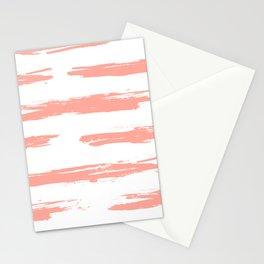 Pretty Pink Brush Stripes Horizontal Stationery Cards