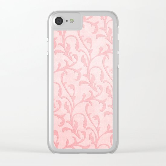 Pretty princess- Pink elegant Damask pattern Clear iPhone Case