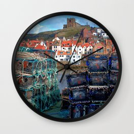 Whitby Harbour Life  Wall Clock