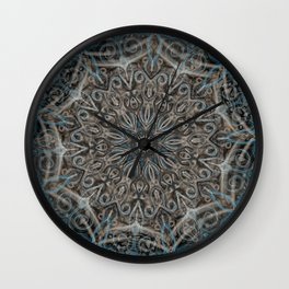 Smoke Swirl Blue Mandala Wall Clock