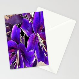 Purple lilies Stationery Cards