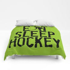 Eat Sleep Hockey Comforters