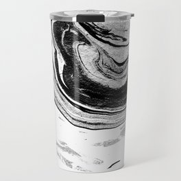 Chi - abstract minimal black and white modern art painting swirl marble pattern waves water Travel Mug