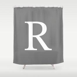 Darker Gray Basic Monogram R Shower Curtain