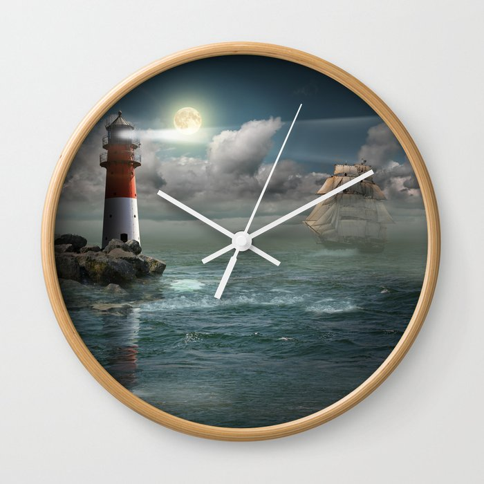 Lighthouse Under Back Light Wall Clock By Monikajuengling