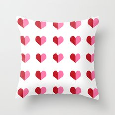 Hearts pink and red minimal cute gifts for valentines day heart pattern for love Throw Pillow