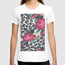 Vintage black white pink floral cheetah animal print T-shirt