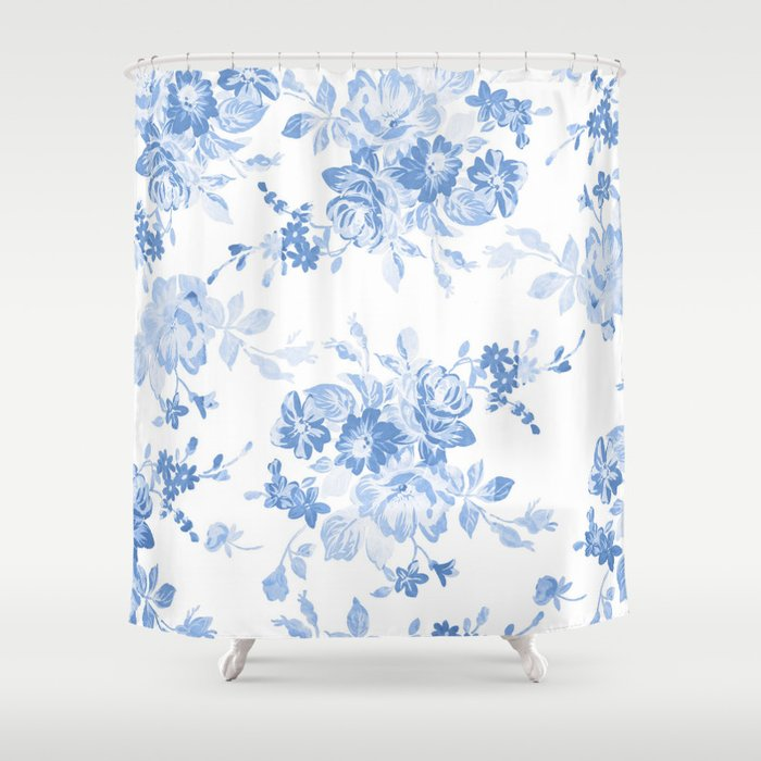 Modern Navy Blue White Watercolor Elegant Floral Shower Curtain By
