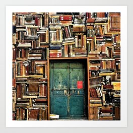 Library with books door entrance Art Print