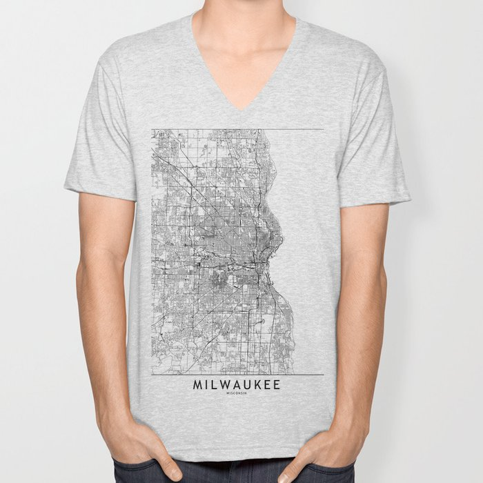 Milwaukee White Map Unisex V-Neck