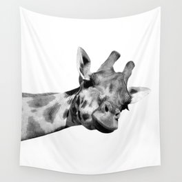 Black and white giraffe Wall Tapestry