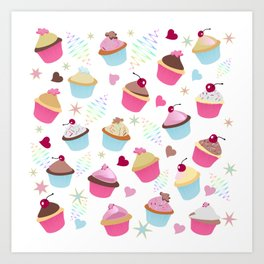 Cupcakes with love Art Print