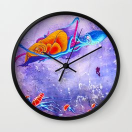 """Gods of the Sea"" Whale,Colossal Squid ,jellyfish and diver Ocean Animal Art Wall Clock"