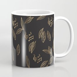 Abstract Gold and Black Musical Fall Leaves Coffee Mug